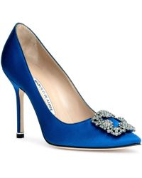 Manolo Blahnik - Hangisi Satin Pump Royal Blue Us - Lyst