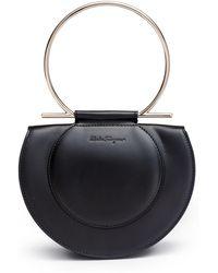 Ferragamo - Daphne Gancino Black Shoulder Bag - Lyst