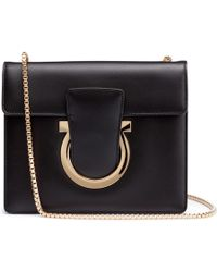 Ferragamo | Thalia Black Leather Gancini Shoulder Bag | Lyst