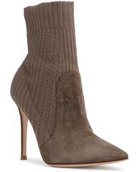Gianvito Rossi - Katie 105 Khaki Suede Sock Booties - Lyst