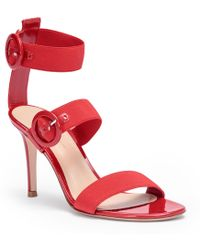 Gianvito Rossi - Red Patent Leather Elastic Sandals - Lyst