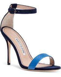 Manolo Blahnik - Chaosbic 105 Blue Suede Snakeskin Sandals - Lyst