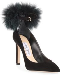 Jimmy Choo - South 100mm Fox-fur Embellished Suede Court Shoes - Lyst