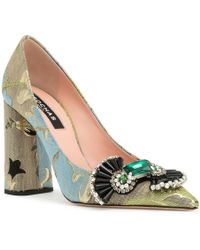 Rochas - Brocade Embellished Pointy Pumps - Lyst