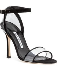 Manolo Blahnik - Dandolo Black Suede Sandals - Lyst