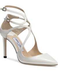 Jimmy Choo - Lancer 85 Chalk Patent Leather Court Shoes - Lyst