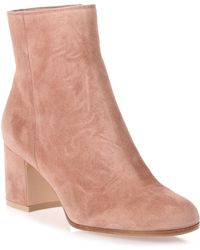 Gianvito Rossi - Margaux Dark Nude Suede Ankle Boot Us - Lyst