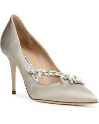 Manolo Blahnik - Nadira Satin Grey Court Shoes - Lyst