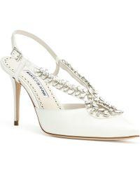 Manolo Blahnik - Sibusata 90 White Satin Crystal Embellishment Court Shoes - Lyst