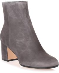 Gianvito Rossi - Margaux Grey Suede Heel Ankle Boot - Lyst