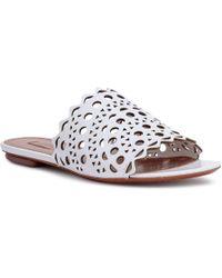 Alaïa - White Leather Laser-cut Slide Sandals - Lyst