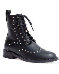Jimmy Choo - Hanah 10 Black Leather Pearl Boots - Lyst