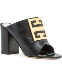 Givenchy - Leather 4g Logo 90mm Slide Sandals - Golden Hardware - Lyst
