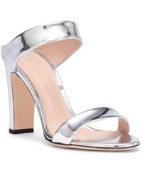 Giuseppe Zanotti - Metallic Silver Leather Block Heel Sandals - Lyst