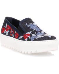 Ferragamo | Egla Denim Embroidered Sneaker | Lyst