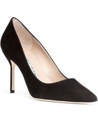 Manolo Blahnik - Bb 90 Black Suede Court Shoes - Lyst