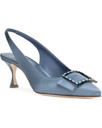 Manolo Blahnik - Dolores Blue Satin Court Shoes - Lyst