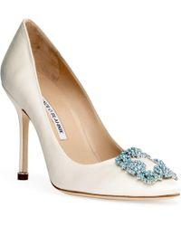 Manolo Blahnik Hangisi Bridal 105 Ivory Satin Court Shoes