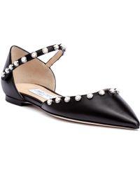Jimmy Choo - Leema Black Leather Beaded Flats - Lyst