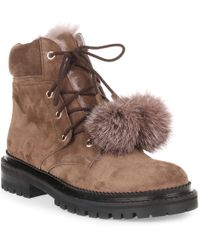 Jimmy Choo - Elba Flat Taup Suede Pom-pom Boot Us - Lyst