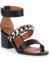 Givenchy   Black Leather Chain Sandal Us   Lyst