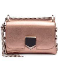 Jimmy Choo | Lockett Mini Metallic Rose Gold Leather Bag | Lyst