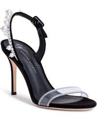 Giuseppe Zanotti - Black 90 Suede Plexi Sandals - Lyst