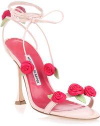 Manolo Blahnik - Xafiore Pink Leather Rose Sandal Us - Lyst