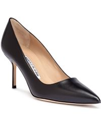 Manolo Blahnik - Bb70 Black Leather Court Shoes - Lyst