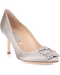 Manolo Blahnik - Hangisi 70 Satin Pump Silver Clear Crystals Us - Lyst