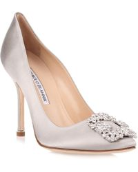 Manolo Blahnik - Hangisi Satin Pump Silver Clear Crystals Us - Lyst