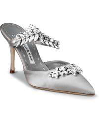 Manolo Blahnik - Lurum 90 Silver Grey Satin Court Shoes - Lyst