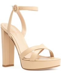 Gianvito Rossi - Nude Leather Platform Sandals - Lyst
