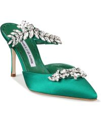 Manolo Blahnik Lurum 90 Emerald Satin Pumps