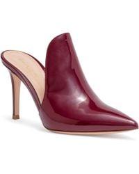Gianvito Rossi - Aramis 85 Burgundy Patent Leather Mules - Lyst