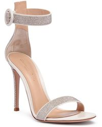 Gianvito Rossi - Lennox 105 Silver Studded Sandals - Lyst