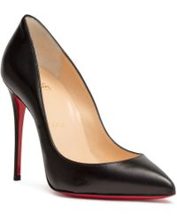 Christian Louboutin - Pigalle Follies 100 Black Leather Court Shoes - Lyst