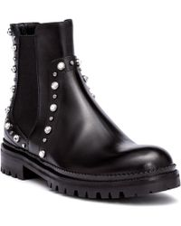 Jimmy Choo - Burrow Black Leather Beaded Boots - Lyst
