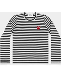 COMME DES GARÇONS PLAY - Black And White Play Striped Long Sleeved T-shirt With Red Heart - Lyst