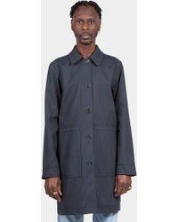 A.P.C. - Navy Stripe Reversible Manteau Double Coat - Lyst