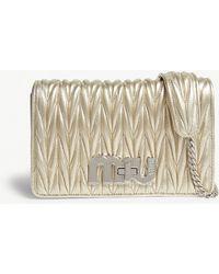 Miu Miu - Miu Gold Metallic Matelassé Leather Shoulder Bag - Lyst