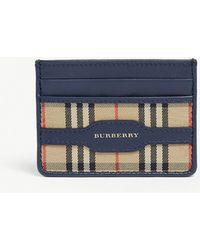 Burberry - 1983 Check And Leather Card Case - Lyst