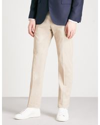 Corneliani | Tailored-fit Straight Stretch-cotton And Cashmere-blend Trousers | Lyst