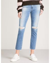 AG Jeans - The Isabelle Distressed Straight High-rise Jeans - Lyst