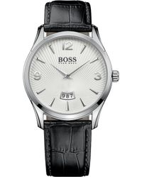 BOSS - Hugo Commander Stainless Steel And Leather Watch - Lyst