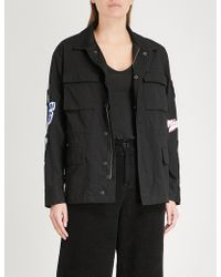 Mini Cream - Embroidered-patch Cotton Jacket - Lyst