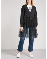 5cm - Flared-hem Cotton And Tulle Cardigan - Lyst