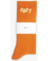 Obey - Jumble Embroidered Logo Cotton-blend Crew Socks - Lyst