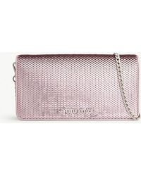 Miu Miu - Sequinned Leather Wallet-on-chain - Lyst