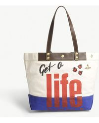 Vivienne Westwood - Anglomania Get A Life Cotton Canvas Shopper Bag - Lyst